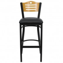 Flash Furniture XU-DG-6H3B-SLAT-BAR-BLKV-GG HERCULES Series Black Slat Back Metal Restaurant Bar Stool - Natural Wood Back, Black Vinyl Seat addl-2