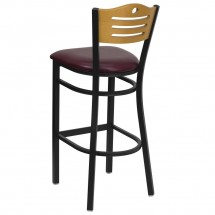 Flash Furniture XU-DG-6H3B-SLAT-BAR-BURV-GG HERCULES Series Black Slat Back Metal Restaurant Bar Stool - Natural Wood Back, Burgundy Vinyl Seat addl-1