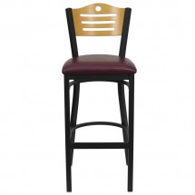 Flash Furniture XU-DG-6H3B-SLAT-BAR-BURV-GG HERCULES Series Black Slat Back Metal Restaurant Bar Stool - Natural Wood Back, Burgundy Vinyl Seat addl-2