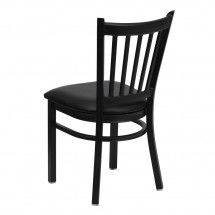 Flash Furniture XU-DG-6Q2B-VRT-BLKV-GG HERCULES Series Black Vertical Back Metal Restaurant Chair - Black Vinyl Seat addl-1