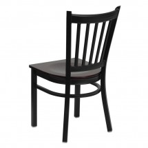 Flash Furniture XU-DG-6Q2B-VRT-MAHW-GG HERCULES Series Black Vertical Back Metal Restaurant Chair - Mahogany Wood Seat addl-1