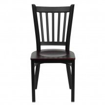Flash Furniture XU-DG-6Q2B-VRT-MAHW-GG HERCULES Series Black Vertical Back Metal Restaurant Chair - Mahogany Wood Seat addl-2