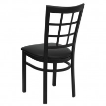 Flash Furniture XU-DG6Q3BWIN-BLKV-GG HERCULES Series Black Window Back Metal Restaurant Chair - Black Vinyl Seat addl-1