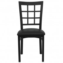 Flash Furniture XU-DG6Q3BWIN-BLKV-GG HERCULES Series Black Window Back Metal Restaurant Chair - Black Vinyl Seat addl-2