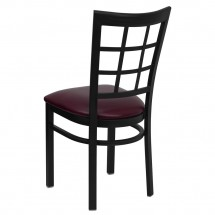 Flash Furniture XU-DG6Q3BWIN-BURV-GG HERCULES Series Black Window Back Metal Restaurant Chair - Burgundy Vinyl Seat addl-1