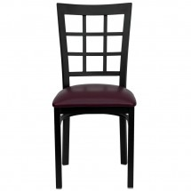 Flash Furniture XU-DG6Q3BWIN-BURV-GG HERCULES Series Black Window Back Metal Restaurant Chair - Burgundy Vinyl Seat addl-2