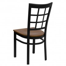 Flash Furniture XU-DG6Q3BWIN-CHYW-GG HERCULES Series Black Window Back Metal Restaurant Chair - Cherry Wood Seat addl-1