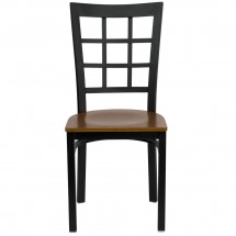 Flash Furniture XU-DG6Q3BWIN-CHYW-GG HERCULES Series Black Window Back Metal Restaurant Chair - Cherry Wood Seat addl-2