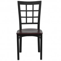 Flash Furniture XU-DG6Q3BWIN-MAHW-GG HERCULES Series Black Window Back Metal Restaurant Chair - Mahogany Wood Seat addl-2