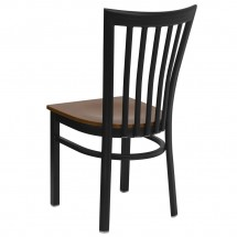 Flash Furniture XU-DG6Q4BSCH-CHYW-GG HERCULES Series Black School House Back Metal Restaurant Chair - Cherry Wood Seat addl-1