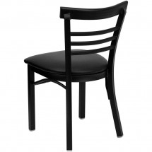 Flash Furniture XU-DG6Q6B1LAD-BLKV-GG HERCULES Series Black Ladder Back Metal Restaurant Chair - Black Vinyl Seat addl-1