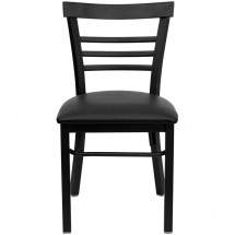 Flash Furniture XU-DG6Q6B1LAD-BLKV-GG HERCULES Series Black Ladder Back Metal Restaurant Chair - Black Vinyl Seat addl-2