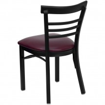 Flash Furniture XU-DG6Q6B1LAD-BURV-GG HERCULES Series Black Ladder Back Metal Restaurant Chair - Burgundy Vinyl Seat addl-1
