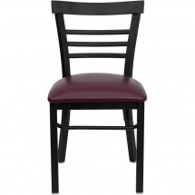 Flash Furniture XU-DG6Q6B1LAD-BURV-GG HERCULES Series Black Ladder Back Metal Restaurant Chair - Burgundy Vinyl Seat addl-2