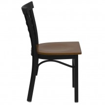 Flash Furniture XU-DG6Q6B1LAD-CHYW-GG HERCULES Series Black Ladder Back Metal Restaurant Chair - Cherry Wood Seat addl-4