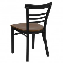 Flash Furniture XU-DG6Q6B1LAD-CHYW-GG HERCULES Series Black Ladder Back Metal Restaurant Chair - Cherry Wood Seat addl-1
