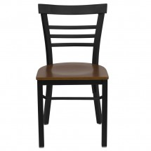 Flash Furniture XU-DG6Q6B1LAD-CHYW-GG HERCULES Series Black Ladder Back Metal Restaurant Chair - Cherry Wood Seat addl-2