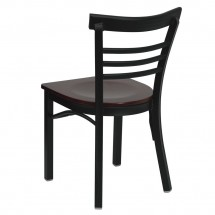 Flash Furniture XU-DG6Q6B1LAD-MAHW-GG HERCULES Series Black Ladder Back Metal Restaurant Chair - Mahogany Wood Seat addl-1