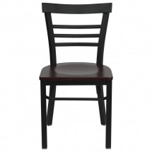 Flash Furniture XU-DG6Q6B1LAD-MAHW-GG HERCULES Series Black Ladder Back Metal Restaurant Chair - Mahogany Wood Seat addl-4
