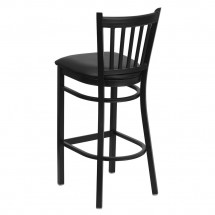 Flash Furniture XU-DG-6R6B-VRT-BAR-BLKV-GG HERCULES Series Black Vertical Back Metal Restaurant Bar Stool - Black Vinyl Seat addl-1