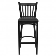 Flash Furniture XU-DG-6R6B-VRT-BAR-BLKV-GG HERCULES Series Black Vertical Back Metal Restaurant Bar Stool - Black Vinyl Seat addl-2
