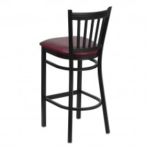 Flash Furniture XU-DG-6R6B-VRT-BAR-BURV-GG HERCULES Series Black Vertical Back Metal Restaurant Bar Stool - Burgundy Vinyl Seat addl-1