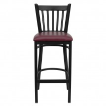 Flash Furniture XU-DG-6R6B-VRT-BAR-BURV-GG HERCULES Series Black Vertical Back Metal Restaurant Bar Stool - Burgundy Vinyl Seat addl-2