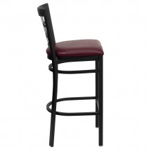 Flash Furniture XU-DG6R7BWIN-BAR-BURV-GG HERCULES Series Black Window Back Metal Restaurant Bar Stool - Burgundy Vinyl Seat addl-4