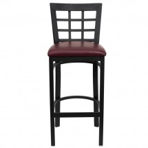 Flash Furniture XU-DG6R7BWIN-BAR-BURV-GG HERCULES Series Black Window Back Metal Restaurant Bar Stool - Burgundy Vinyl Seat addl-2