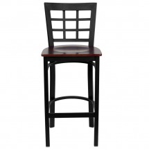 Flash Furniture XU-DG6R7BWIN-BAR-MAHW-GG HERCULES Series Black Window Back Metal Restaurant Bar Stool - Mahogany Wood Seat addl-2