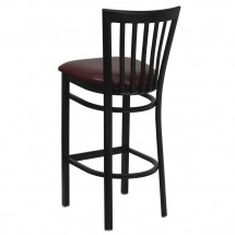 Flash Furniture XU-DG6R8BSCH-BAR-BURV-GG HERCULES Series Black School House Back Metal Restaurant Bar Stool - Burgundy Vinyl Seat addl-1