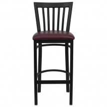 Flash Furniture XU-DG6R8BSCH-BAR-BURV-GG HERCULES Series Black School House Back Metal Restaurant Bar Stool - Burgundy Vinyl Seat addl-2