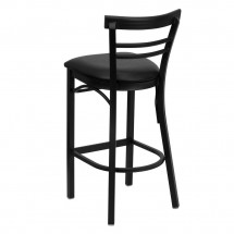 Flash Furniture XU-DG6R9BLAD-BAR-BLKV-GG HERCULES Series Black Ladder Back Metal Restaurant Bar Stool - Black Vinyl Seat addl-1