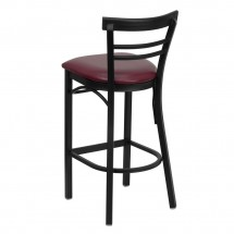 Flash Furniture XU-DG6R9BLAD-BAR-BURV-GG HERCULES Series Black Ladder Back Metal Restaurant Bar Stool - Burgundy Vinyl Seat addl-1