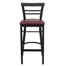 Flash Furniture XU-DG6R9BLAD-BAR-BURV-GG HERCULES Series Black Ladder Back Metal Restaurant Bar Stool - Burgundy Vinyl Seat addl-2