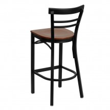Flash Furniture XU-DG6R9BLAD-BAR-CHYW-GG HERCULES Series Black Ladder Back Metal Restaurant Bar Stool - Cherry Wood Seat addl-1