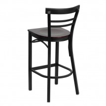 Flash Furniture XU-DG6R9BLAD-BAR-MAHW-GG HERCULES Series Black Ladder Back Metal Restaurant Bar Stool - Mahogany Wood Seat addl-1