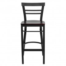 Flash Furniture XU-DG6R9BLAD-BAR-MAHW-GG HERCULES Series Black Ladder Back Metal Restaurant Bar Stool - Mahogany Wood Seat addl-2