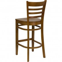 Flash Furniture XU-DGW0005BARLAD-CHY-GG HERCULES Series Cherry Finished Ladder Back Wooden Restaurant Bar Stool addl-1