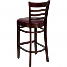 Flash Furniture XU-DGW0005BARLAD-MAH-BURV-GG HERCULES Series Mahogany Finished Ladder Back Wooden Restaurant Bar Stool - Burgundy Vinyl Seat addl-1