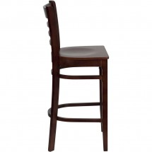 Flash Furniture XU-DGW0005BARLAD-MAH-GG HERCULES Series Mahogany Finished Ladder Back Wooden Restaurant Bar Stool addl-2