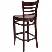 Flash Furniture XU-DGW0005BARLAD-MAH-GG HERCULES Series Mahogany Finished Ladder Back Wooden Restaurant Bar Stool addl-1