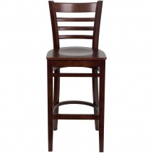 Flash Furniture XU-DGW0005BARLAD-MAH-GG HERCULES Series Mahogany Finished Ladder Back Wooden Restaurant Bar Stool addl-3