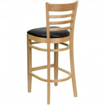 Flash Furniture XU-DGW0005BARLAD-NAT-BLKV-GG HERCULES Series Natural Wood Finished Ladder Back Wooden Restaurant Bar Stool - Black Vinyl Seat addl-1