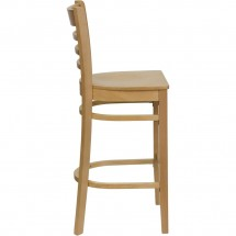 Flash Furniture XU-DGW0005BARLAD-NAT-GG HERCULES Series Natural Wood Finished Ladder Back Wooden Restaurant Bar Stool addl-2