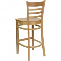 Flash Furniture XU-DGW0005BARLAD-NAT-GG HERCULES Series Natural Wood Finished Ladder Back Wooden Restaurant Bar Stool addl-1