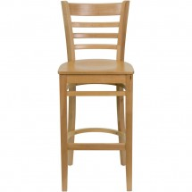 Flash Furniture XU-DGW0005BARLAD-NAT-GG HERCULES Series Natural Wood Finished Ladder Back Wooden Restaurant Bar Stool addl-3