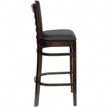 Flash Furniture XU-DGW0005BARLAD-WAL-BLKV-GG HERCULES Series Walnut Finished Ladder Back Wooden Restaurant Bar Stool - Black Vinyl Seat addl-2