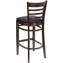 Flash Furniture XU-DGW0005BARLAD-WAL-BLKV-GG HERCULES Series Walnut Finished Ladder Back Wooden Restaurant Bar Stool - Black Vinyl Seat addl-1