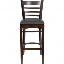 Flash Furniture XU-DGW0005BARLAD-WAL-BLKV-GG HERCULES Series Walnut Finished Ladder Back Wooden Restaurant Bar Stool - Black Vinyl Seat addl-3